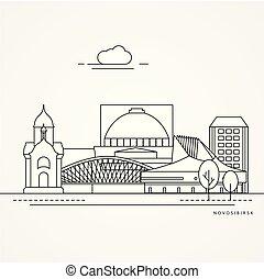 lineare, linea, style., appartamento, russia., novosibirsk, illustrazione, uno