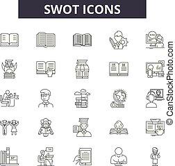 lineare, set, icone, illustrazione, concetto, vettore, linea, swot, segni, contorno