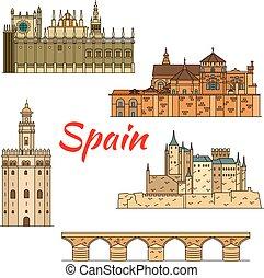 lineare, simbolo, storico, viaggiare, spagna, limiti