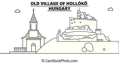 lineare, -, vector., famoso, ungheria vecchia, punto di riferimento, panorama, holloko, viaggiare, villaggio, illustrazione, orizzonte