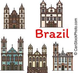 lineare, viaggiare, architettura, brasiliano, punto di riferimento, icona