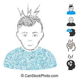 lineetta, icona, collage, mal di testa