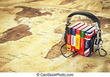 lingue, concept., cuffie, libri, online., audiobooks, cultura, mappa, world.