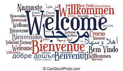 lingue, frase, differente, benvenuto
