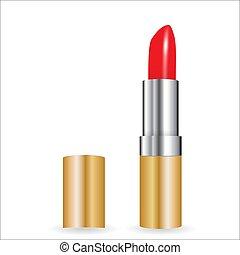 lipstick., eps10, illustration., realistico, vettore, modello, rosso, 3d