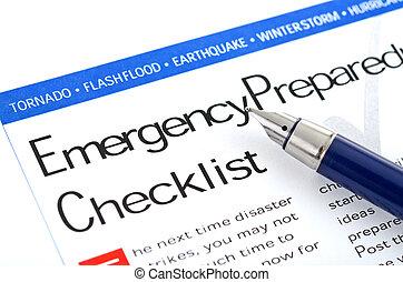 lista, preparazione, emergenza