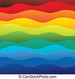 livelli, arcobaleno, colorito, &, questo, vibrante, astratto, contiene, -, spettro, illustrazione, acqua oceano, colori, vettore, liscio, fondo, onde, (backdrop), graphic.