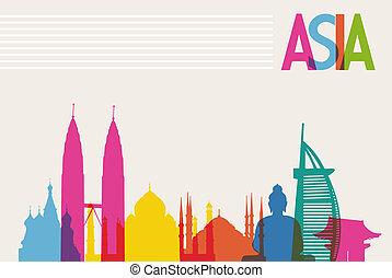 livelli, colori, diversità, file, monumenti, organizzato, transparency., famoso, editing., vettore, facile, asia, punto di riferimento