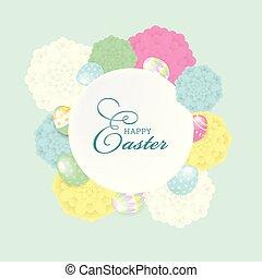 livelli, iscrizione, elementi, eps10, file, colorito, uova, organizzato, augurio, editing., vettore, facile, composition., fiori, pasqua, scheda, felice