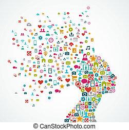 livelli, testa, concetto, silhouette, illustration., eps10, icone, media, organizzato, vettore, editing., donna, facile, sociale, file, fatto, schizzo