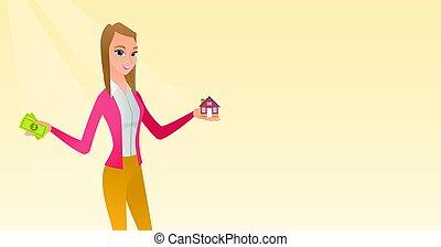 loan., casa, ringraziamento, caucasico, acquisto, uomo