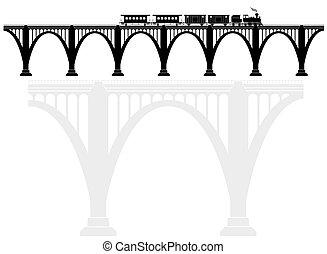 locomotive., ponte, trasporto, infrastructure., openwork, concreto, passengers., arco, vapore, trasporto