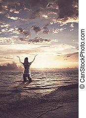 lodare, donna, oceano