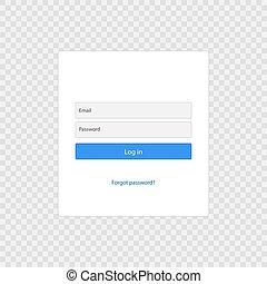 login, pagina, forma, sagoma