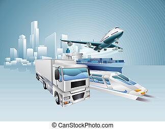 logistica, città, concetto, affari