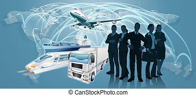 logistica, concetto, squadra affari