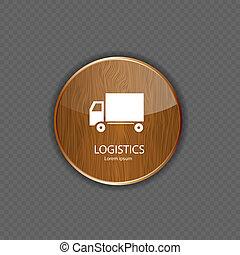 logistica, domanda, legno, icone