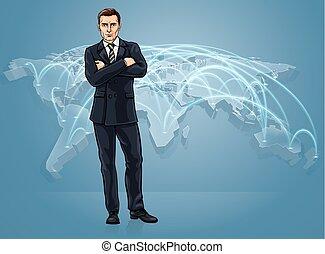 logistica, mappa, concetto, affari, mestiere globale, mondo