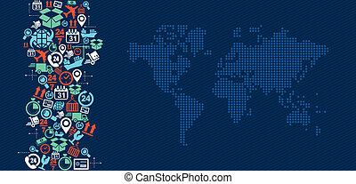 logistica, mappa, illustration., icone, spedizione marittima, schizzo, mondo