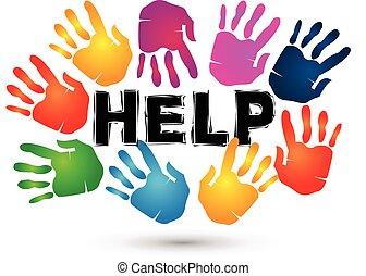 logo., aiuto, mani