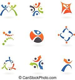 logos, 2, umano, icone