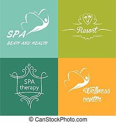 logos, centro, set, wellness, vettore, terme