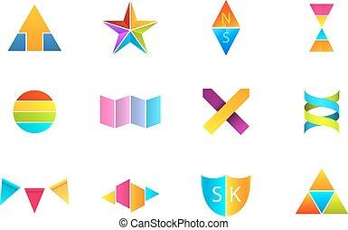 logos, colorito, seduto