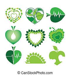 logos, forma, foglie, collezione, ambiente, vettore, salute, cuori