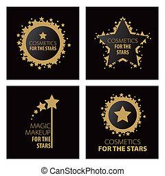 logos, magia, trucco, collezione, vettore, stelle