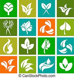 logos, natura, icone, -, collezione, 6