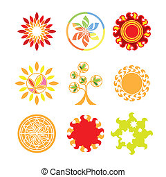 logos, vettore, collezione, forma, sole