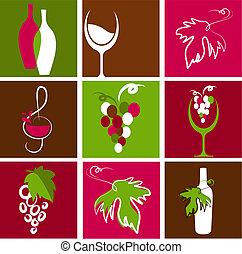 logos, vino, collezione, icone