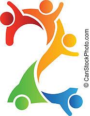 logotipo, 2, lavoro squadra, numero