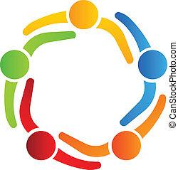 logotipo, 5, disegno, partner affari