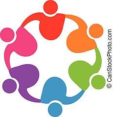 logotipo, abbraccio, lavoro squadra, persone