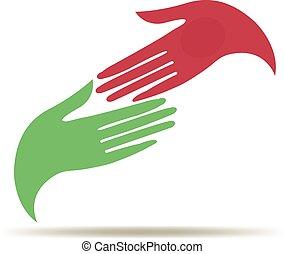 logotipo, affari donna, mani