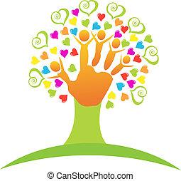 logotipo, albero, bambini, mani