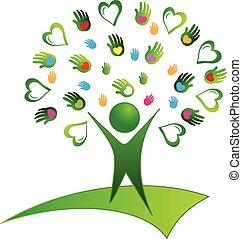 logotipo, albero verde, mani