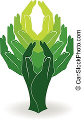 logotipo, albero, verde, mani
