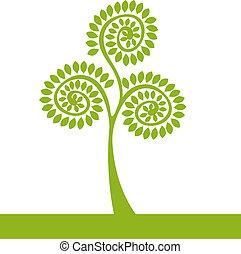 logotipo, albero verde