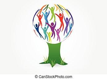 logotipo, albero, vettore, persone