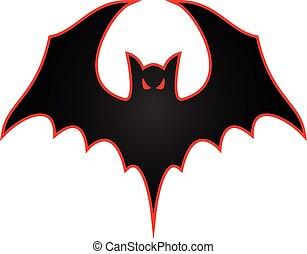 logotipo, ali, pipistrello, illustrazione, spalmare