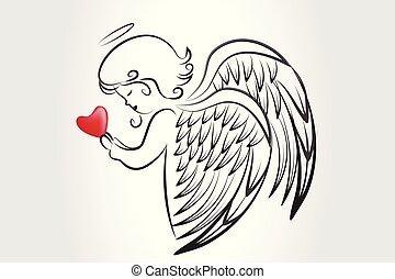logotipo, amore, icona, cuore, pregare, natale, angelo