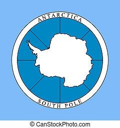 logotipo, antartide, continente