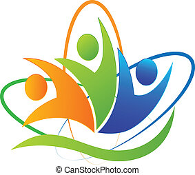 logotipo, app, felice, successo, persone