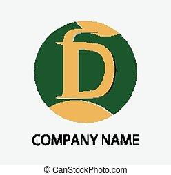 logotipo, astratto, d, lettera, icona