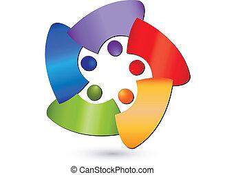 logotipo, astratto, lavoro squadra, persone