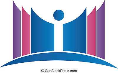 logotipo, astratto, libri, studente