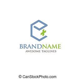 logotipo, astratto, quadrato, salute, croce