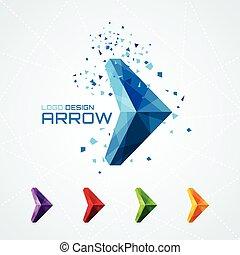 logotipo, astratto, triangolare, freccia